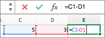 Indtast en formel i en celle, og den vises også på formellinjen