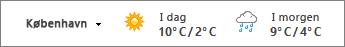 Vejret vises med temperaturer i celsius