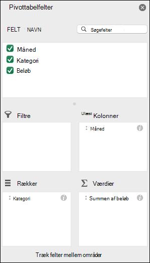 Eksempel på listedialogboksen Pivottabelfelter i Excel
