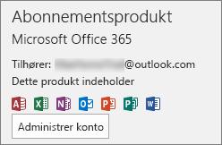 Viser den mailkonto, der er knyttet til Office