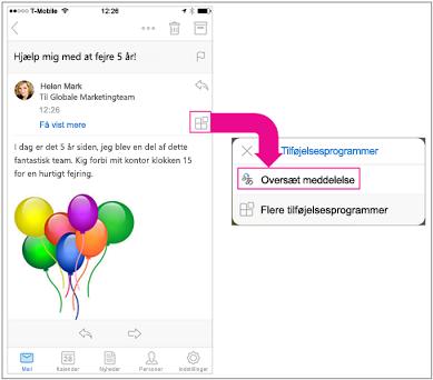 Tryk på knappen tilføjelsesprogrammer for at få vist tilføjelsesprogrammet minioversætter