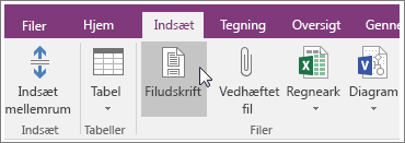 Skærmbillede af knappen Filudskrift i OneNote 2016.