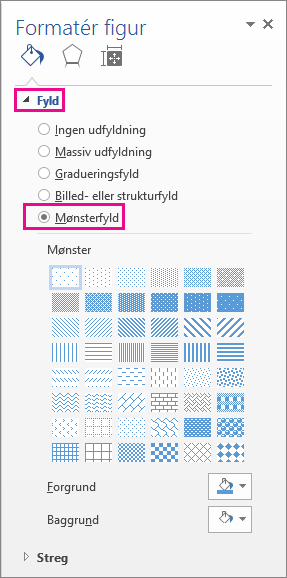 Valg af mønsterfyld i ruden Formatér figur