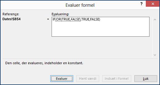 Eksempel på guiden Evaluer formel