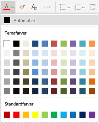 Skriftfarve i menuindstillinger i OneNote Online.
