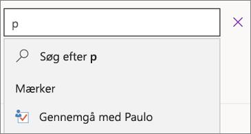 """Søgefelt med p og resultater, der viser """"Diskuter med Paulo"""""""