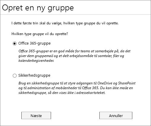 Oprette en ny Office 365-gruppe eller en ny sikkerhedsgruppe