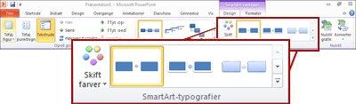 Fanen Design under SmartArt-værktøjer.