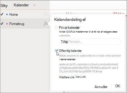 Indstillinger for offentlig kalender i iCloud