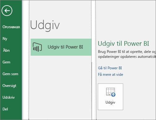 Fanen Udgiv i Excel 2016, der viser knappen Udgiv til Power BI
