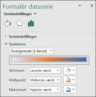 Indstillinger for Seriens farve i Excel-kortdiagram