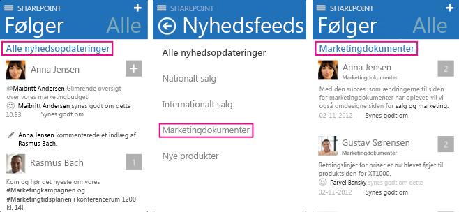 Skærmbilleder af, hvordan du vælger andre nyhedsopdateringer på en iOS-enhed