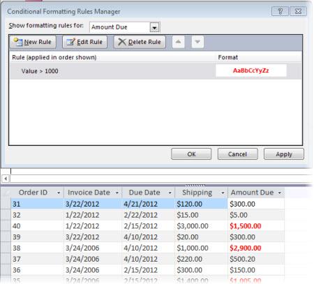 Regel for betinget formatering sammen med en visning af formularen i layoutvisning, hvor formatet er anvendt.