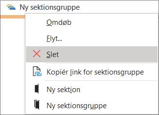 Dialogboksen Slet sektionsgruppe i OneNote til Windows