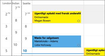 Kalender med tre tidszoner i venstre side og møder i højre side