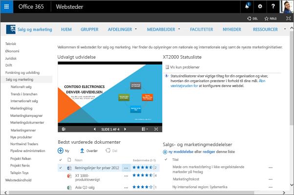 Med teamwebsteder i Office 365 kan personer i organisationer arbejde sammen