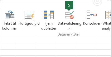 Valider rullelisten ved at klikke på Data > Datavalidering i Excel
