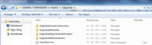 Skærmbillede af Windows Stifinder, der viser en udpakket Web Solution Package (.wsp).