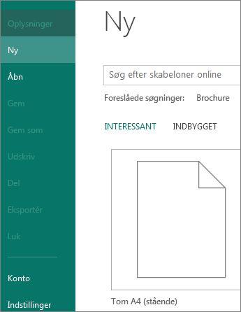 Ny i menuen Filer