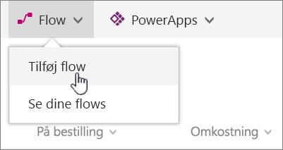 Flowmenu i liste med tilføj Flow fremhævet
