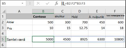 Et eksempel på matrixformel, der beregner flere resultater