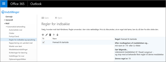 Viser området Regler for indbakke i indbakken og indstillingen for oprydningsregler i indstillingerne for mail i Office 365. Du kan oprette, redigere og slette indbakkeregler for at håndtere din mail.