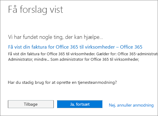 """Skærmbillede af siden """"Gennemgå forslag"""" i Office 365 Admin Center Service anmode om formularen."""