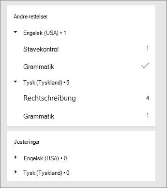 Korrektioner og forbedringer er oplistet efter sprog i ruden Editor.