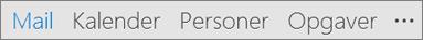 Linjen Hurtig adgang i Outlook, der viser knapper for Mail, Kalender, Personer, Opgaver og Flere (de tre prikker eller ellipser) indstillinger