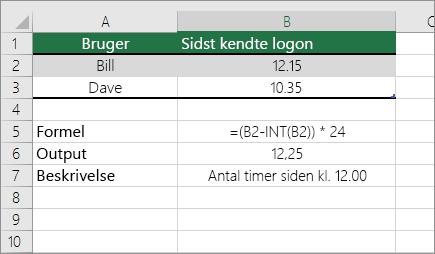 Eksempel: konverter timer fra standardklokkeslætsformat til et decimaltal