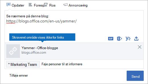 Linket preview kan ikke ses i Internet Explorer 10 dokument tilstand