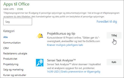 Skærmbillede af siden Office-tilføjelsesprogrammer i Store, hvor du kan vælge eller søge efter et tilføjelsesprogram for projekt.