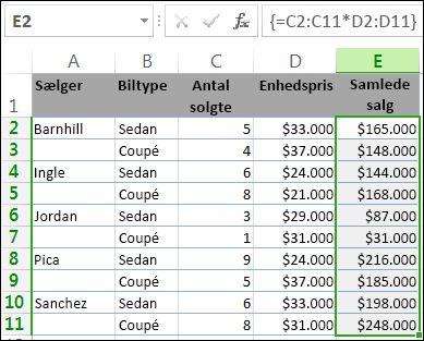 Totalerne i kolonne E beregnes ved hjælp af en matrixformel