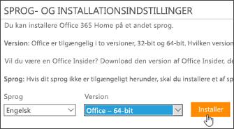 Skærmbillede visende Sprog- og versionsindstillinger og knappen Installer