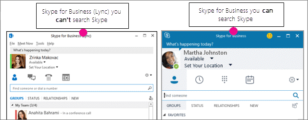 Sammenligning side om side af siden Kontakter i Skype for Business og siden Skype for Business (Lync)