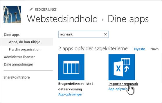"Appen ""importer regneark"" fremhævet i dialogboksen Nye apps"