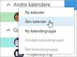 Et skærmbillede af genvejsmenuen for Andre kalendere med Åbn kalender markeret.