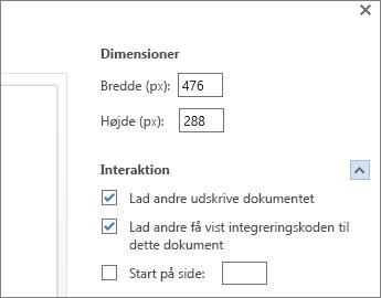 Indstillinger for integrering af et Word-dokument