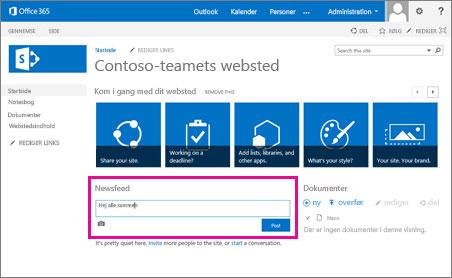 SharePoint Newsfeed vises automatisk på teamwebsteder