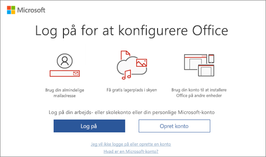 "Viser siden ""Log på for at konfigurere Office"", som evt. vises, når du har installeret Office"