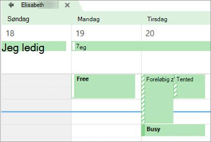 Din kalender ser ud til personen, du deler den med.