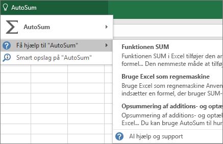 Få hjælp i Excel