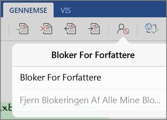 Dialogboksen Bloker for forfattere