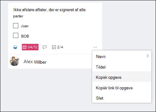 Skærmbilledet capture: Viser menuen mere, der åbnes fra en opgave i teamplanlægning tavlen.