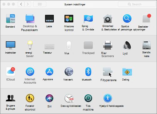 Skærmbillede af systemindstillinger på en Mac