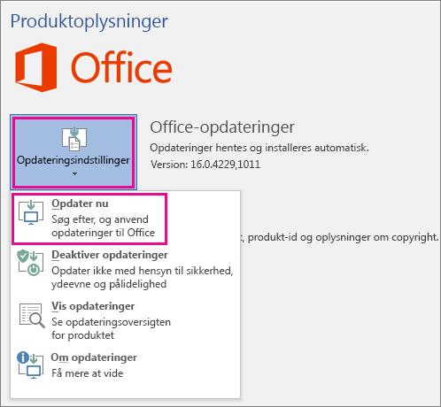 Manuel søgning efter Office-opdateringer i Word 2016