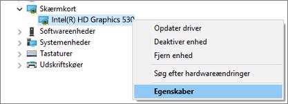 Gå til Windows Enhedshåndtering for at administrere drivere til dit skærmkort.