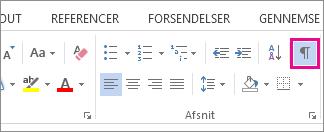 Kommandoen Vis/skjul på fanen Hjem i Word 2013.