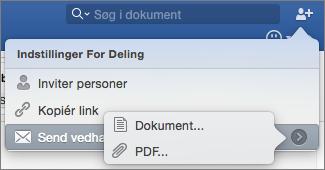 Vælg formatet for det dokument, du vil sende – et Word-dokument eller en PDF-fil.