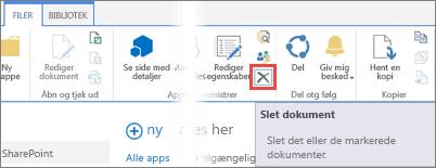 Slette en app fra biblioteket Apps til SharePoint-bibliotek i appkataloget